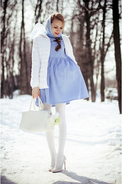 sky blue Sheinsidecom dress - white BeFree jacket
