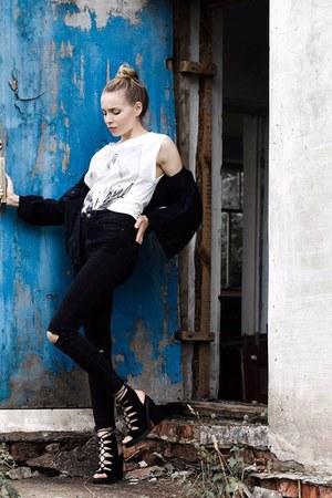 black boots - black blazer - white shirt