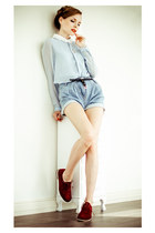 crimson why not boots - light blue Sheinside skirt