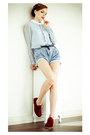 Crimson-why-not-boots-light-blue-sheinside-skirt