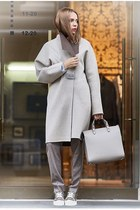 silver coat - silver bag - silver pants