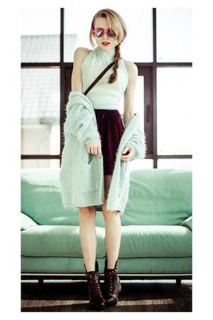 crimson romwe boots - bubble gum Choies sunglasses - crimson Sheinsidecom skirt