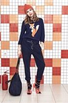 orange H&M hat - blue Mango bag - orange asos heels