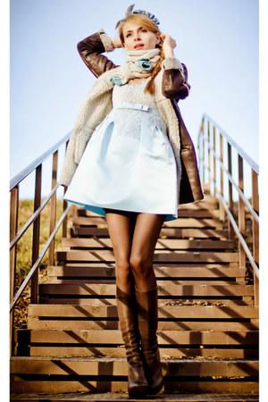 Chois dress - dark brown Mango coat - ivory chicnova bag