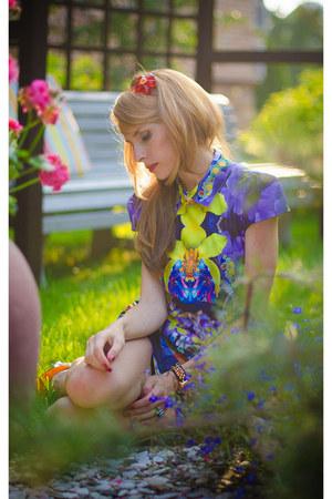 green LALO TREASURES ring - deep purple Sheinside dress