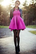 sky blue LALO TREASURES necklace - black Choies boots - hot pink Choies dress