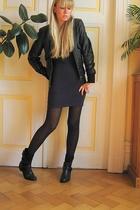 blue American Apparel dress - black mellow yellow shoes - black kooka jacket