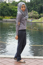 light brown flats Mango shoes - dark gray Zara pants - heather gray Zara top