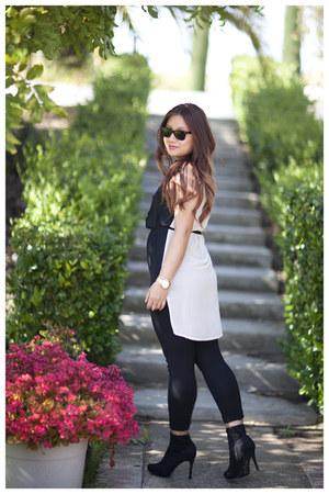 black Forever 21 boots - black Zara pants - eggshell Forever 21 top