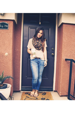 Zara jeans - tan foreign exchange shirt - H&M scarf