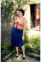 ruby red bustier Urban Outfitters shirt - blue pleated thrifted vintage skirt