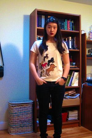 white H&M shirt - black Forever 21 jeans