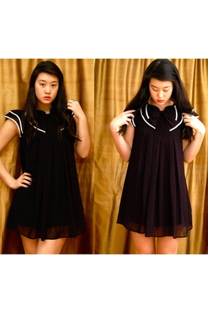black Forever 21 dress - white Forever 21 accessories