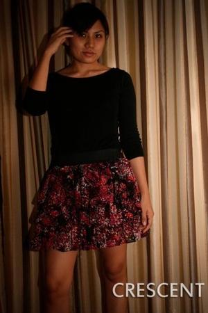 black Zara shirt - red crescent skirt