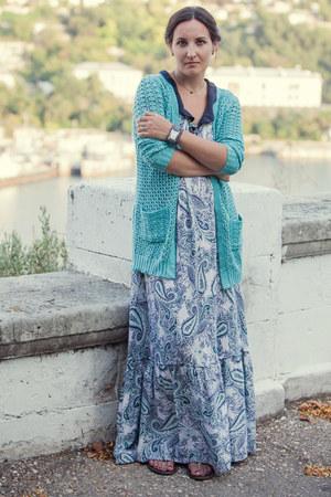 cottoncashmere handmade cardigan - silk collar handmade dress