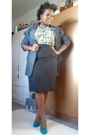 tweed Primark blazer - pencil skirt thrifted skirt - thrifted blouse