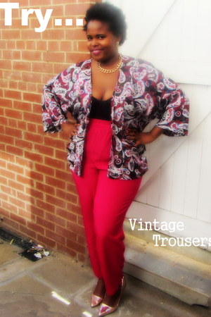 hot pink thrifted pants - neutral Miss Selfridge heels - crimson Topshop top
