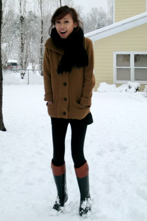 bronze JCrew cardigan - black tory burch boots - black Forever 21 scarf - black