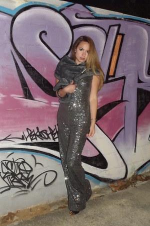 dark gray DIY tights - silver Zara bodysuit