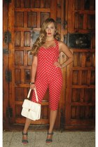 red I DIY bodysuit - white vintage purse - blue Bershka heels
