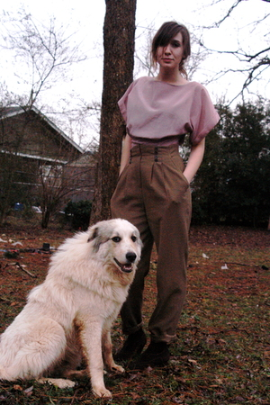 vintage blouse - Thrift Shop pants - Steve Madden boots - Drugstore tights