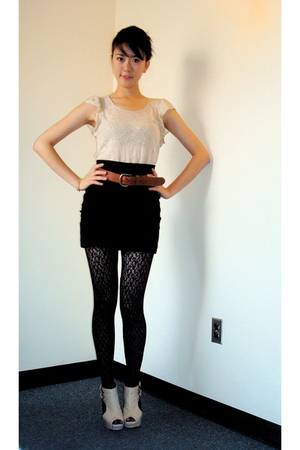 Forever 21 top - Shiek shoes - Forever 21 skirt - Forever 21 tights - Gap belt