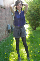 gray shoes - gray tights - gray shorts - purple blouse - gold accessories