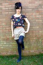 blue shoes - blue tights - blue blouse - beige shorts - pink belt - silver acces