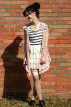white t-shirt - pink vest - white skirt - pink stockings - black shoes - gold ac