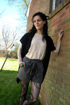 pink blouse - black tights - gray shorts - black vest - silver accessories
