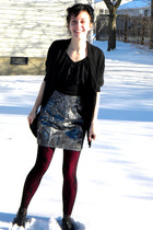 silver skirt - red leggings - black tights - black blouse - black cardigan