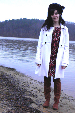 brown boots - black Old Navy dress - white Old Navy coat - black hat