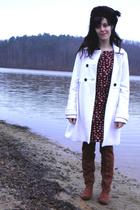 brown boots - black Old Navy dress - white Old Navy coat - black hat