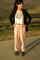 black shoes - pink pants - white top - black blazer - pink belt