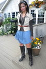 Brown-bobbi-blue-boots-blue-anthropologie-skirt-brown-cavalli-shirt-gold-c