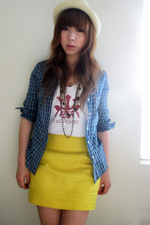 Levis shirt - shirt - forever 21 skirt -  hat - necklace