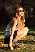 Topshop socks - Mango sunglasses - H&M skirt - LaStrada heels - Topshop top