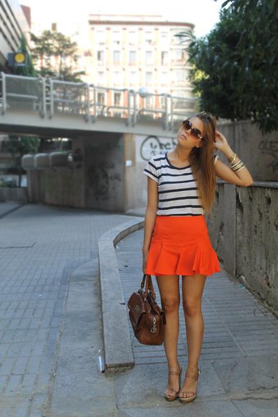 Zara skirt - Bimba & Lola bag - Uterqe top - Uteraqe wedges