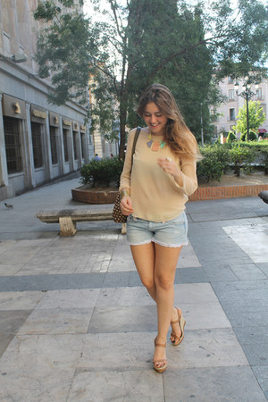 DIY shorts - Zara blouse - Uterqe wedges