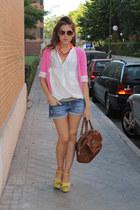 Zara heels - Bimba&Lola bag - Mango shorts - Zara cardigan - Zara blouse