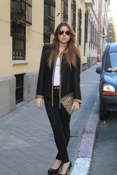 Queens Wardrobe jacket - Zara jeans - Zara bag - Ray Ban sunglasses - Zara heels