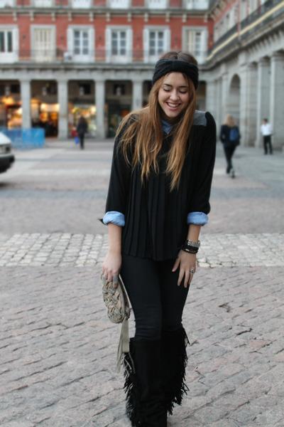 hakei boots - Zara jeans - Zara shirt - Queens Wardrobe blouse