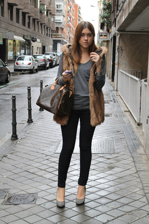 Zara vest - pull&bear jeans - Queens Wardrobe sweater - Louis Vuitton bag