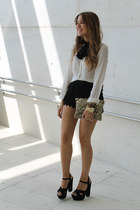 Irene Laya heels - Zara bag - Queens Wardrobe shorts - Zara blouse