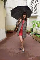 H&M coat - H&M dress - Louis Vuitton bag - new look flats