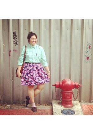 navy no brand skirt - bubble gum no brand skirt - aquamarine monkey surff shirt