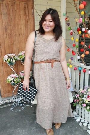 brown no brand belt - light brown no brand dress - black Mango bag