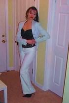 white A Byer pants - blue Bebe San Fransisco blazer - black Bebe blouse - black