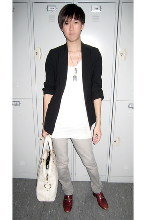 Zara top - Zara blazer - Gucci necklace - Topman jeans - Yves Saint Laurent shoe