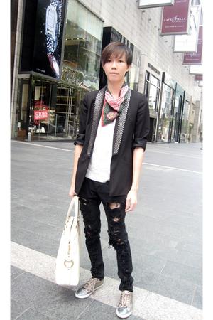 lanvin t-shirt - Viviene Westwood scarf - Zara blazer - thrifted jeans - Dolce &